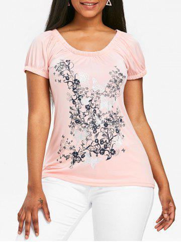 Latest Butterfly and Floral Print Scoop Neck T-shirt