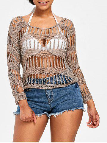 Online Pullover Beading Crochet Cover Up