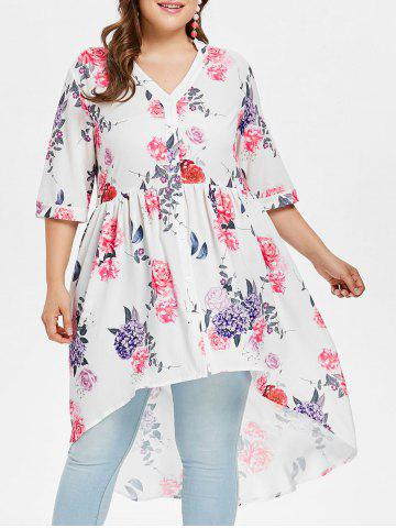 Outfits Plus Size High Low Floral Blouse