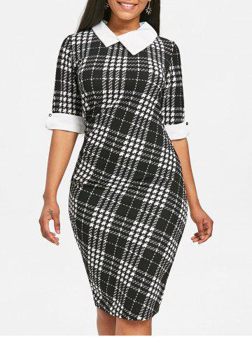 Best Asymmetrical Neck Houndstooth Print Knee Length Dress