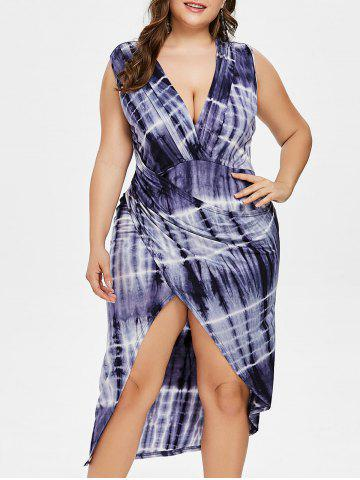 Fancy Tie Dye Plus Size Plunge High Low Dress