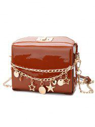 Star Chain Embellished Patent Leather Crossbody Bag -