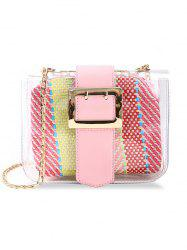 Chic Buckled Color Block Crossbody Bag -