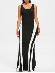 Color Contrast Maxi Tank Dress -