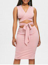 Self Tie Low Cut Bodycon Dress -