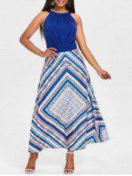 Print Floor Length A Line Dress -