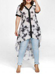 Plus Size High Low Blouse with Lace -