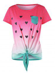 Heart Print Front Knot Watermelon T-shirt -