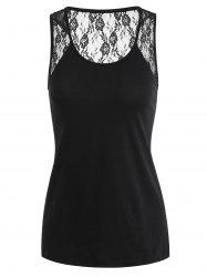 See Through Lace Panel Tank Top -