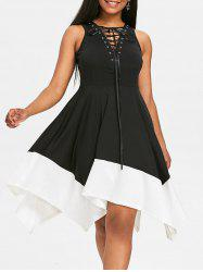 Color Block Lace Up Handkerchief Dress -
