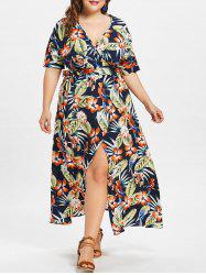 Empire Waist Plus Size Holiday Maxi Slit Dress -