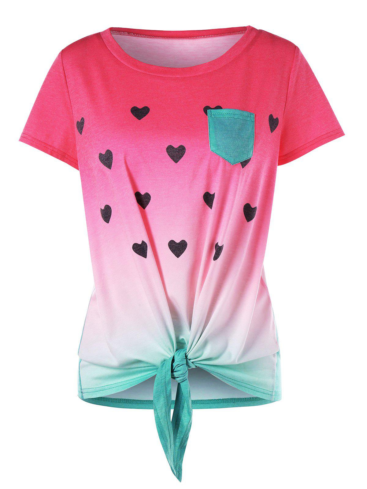 Outfit Heart Print Front Knot Watermelon T-shirt