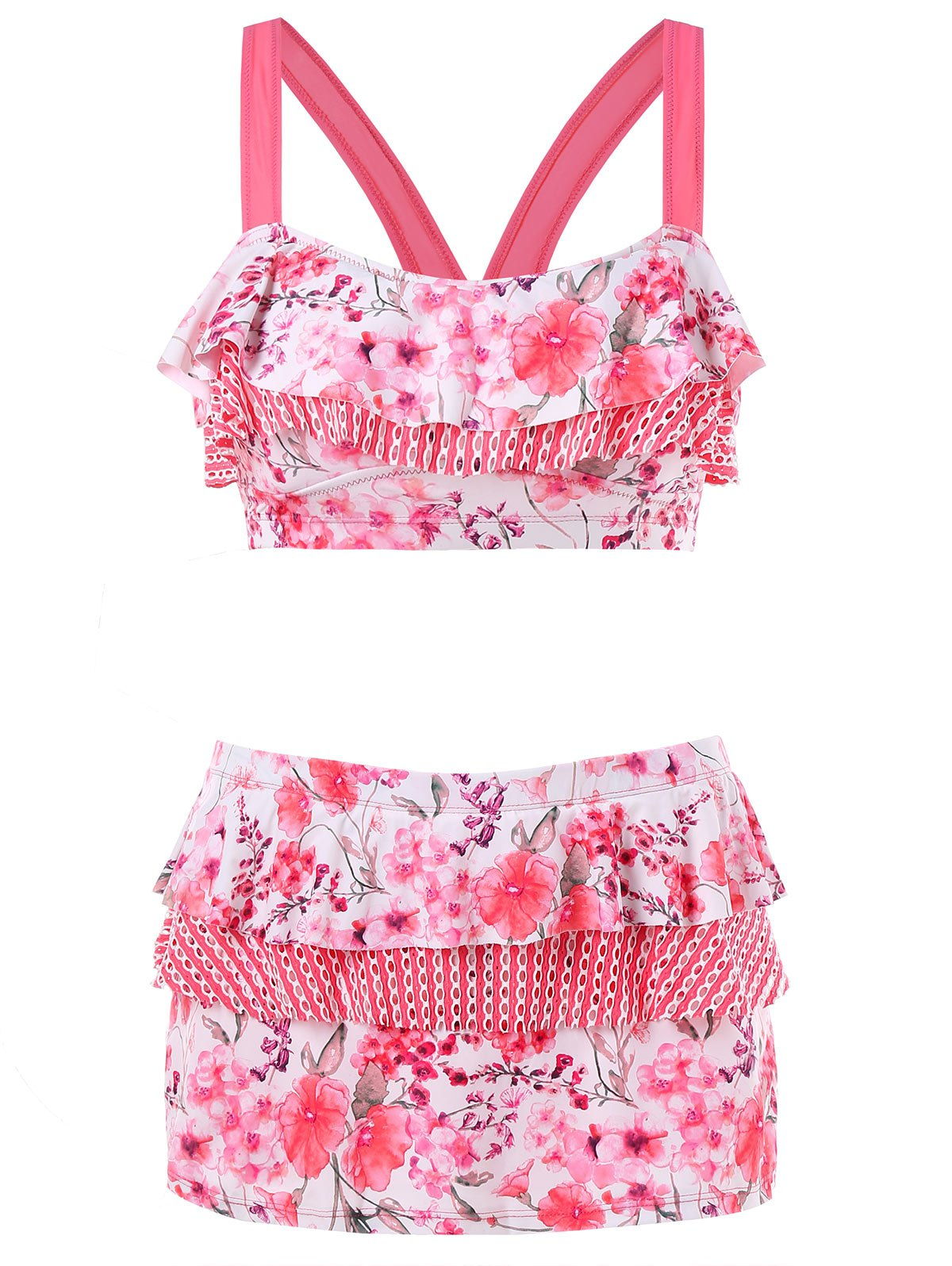 Chic Floral Print Layered Bikini Set