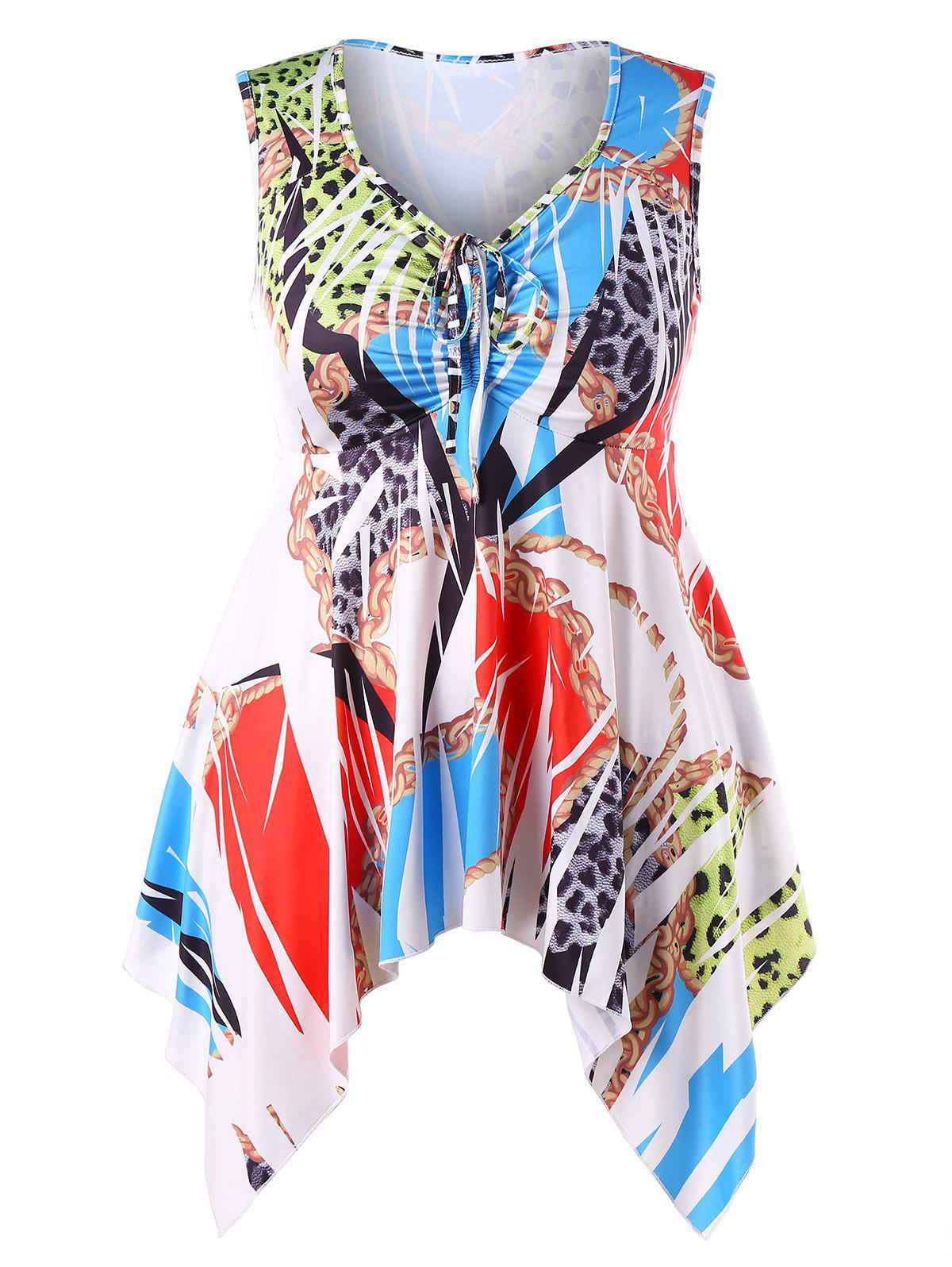 015abece1972c 55% OFF   2018 Plus Size Printed Asymmetrical Empire Waist Top In ...