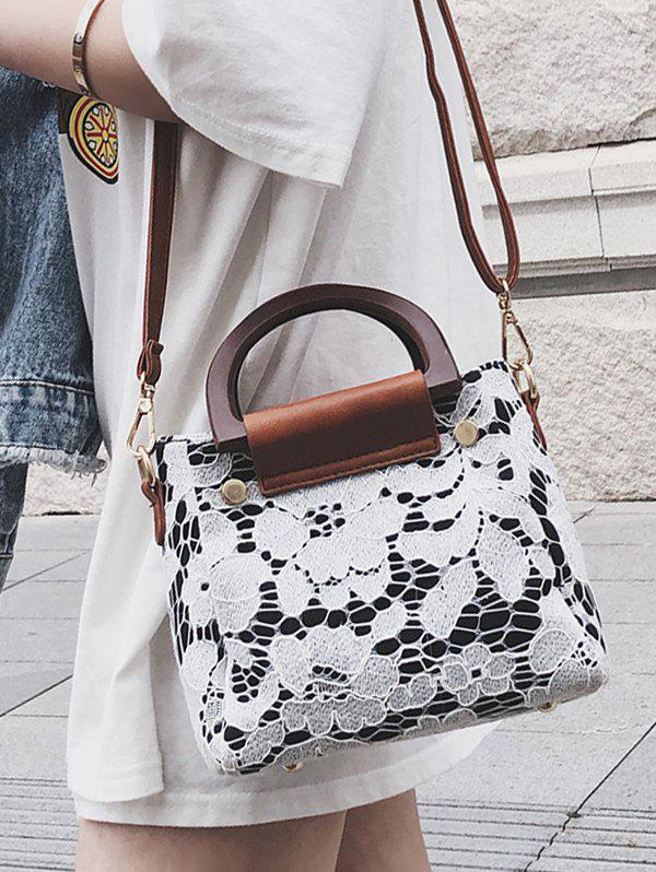 Online Flower Lace Top Handle Crossbody Bag