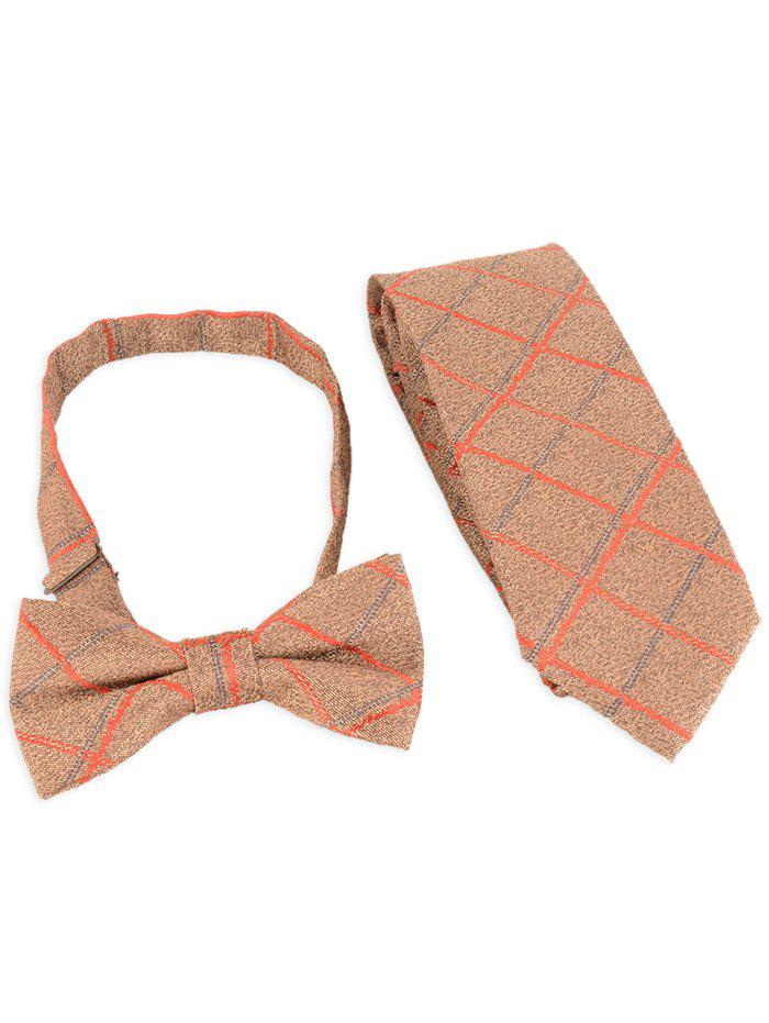 New 7CM Width Checked Pattern Business Tie and Bowtie