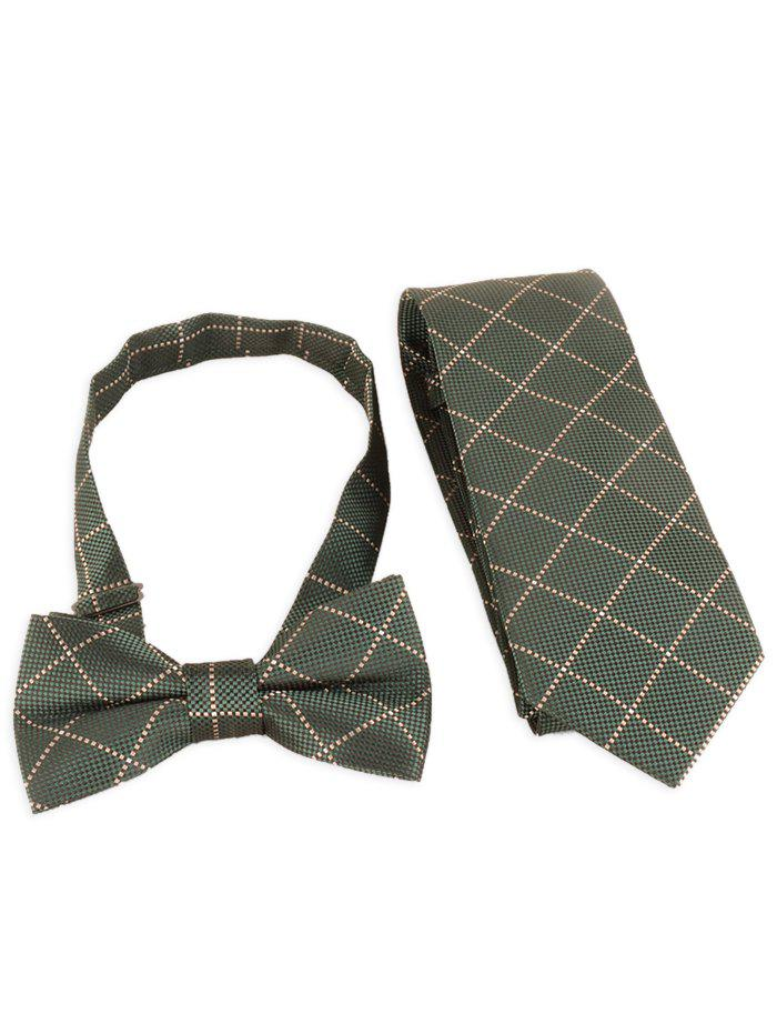 Fashion 7CM Width Plaid Pattern Shirt Tie and Bowtie Set