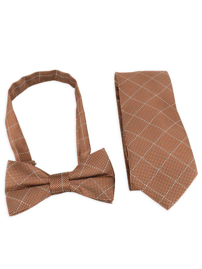 Fancy 7CM Width Plaid Pattern Shirt Tie and Bowtie Set