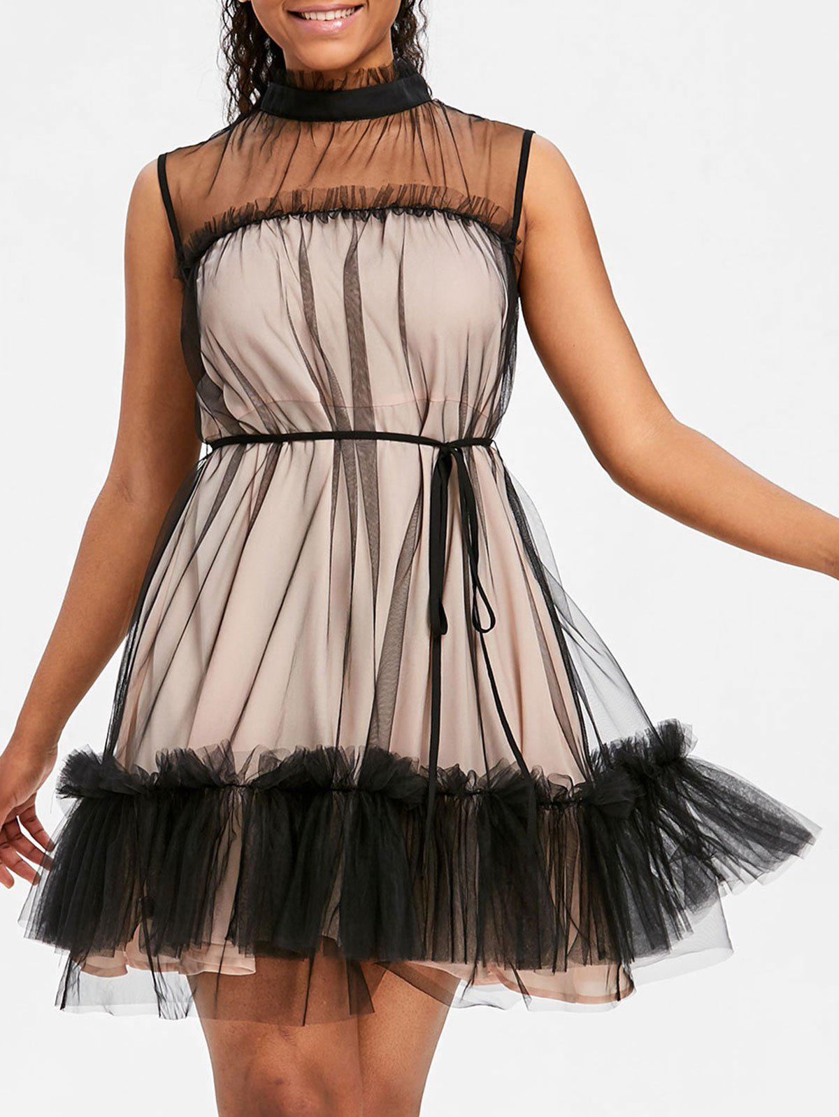 Robe Cocktail en Tulle Sans Manches à Volant