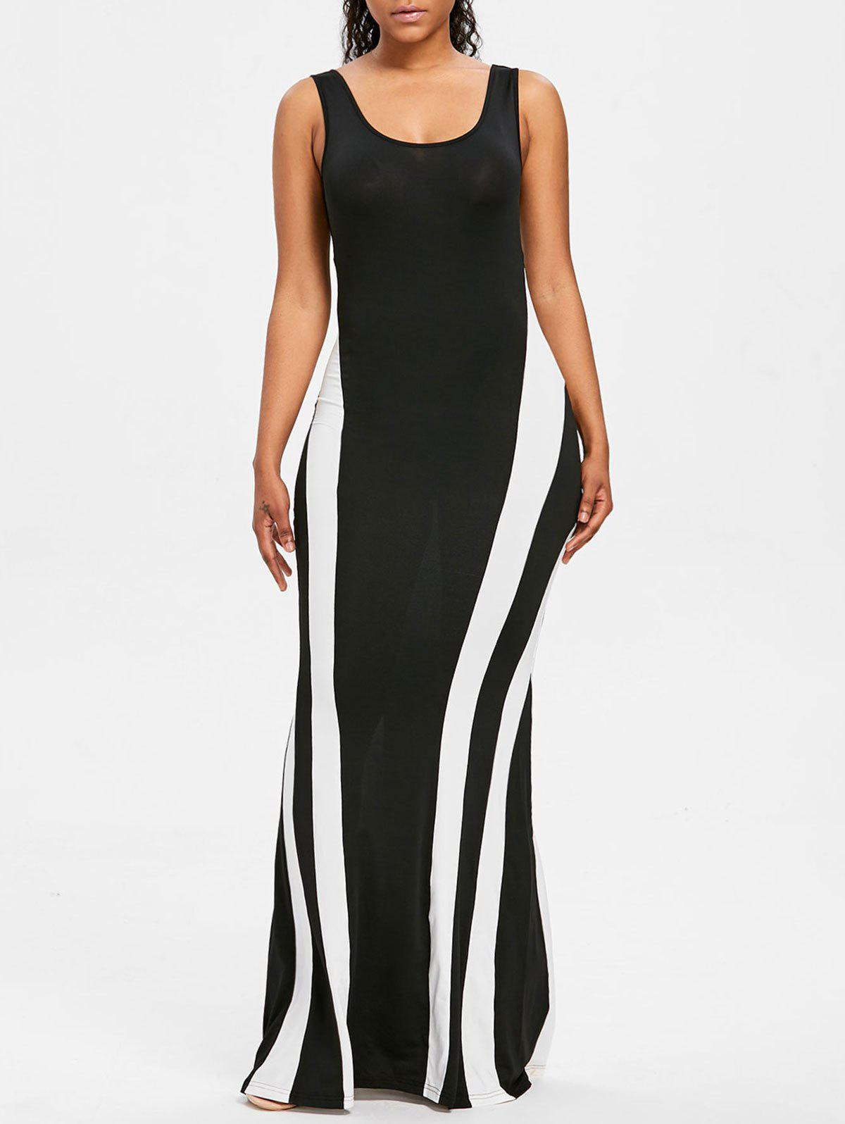 Buy Color Contrast Maxi Tank Dress