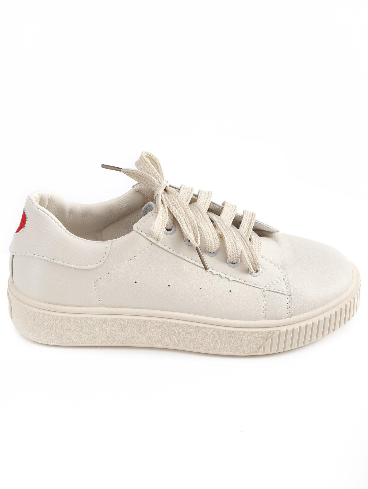 Chic Tie Up Low Heel PU Leather Sneakers