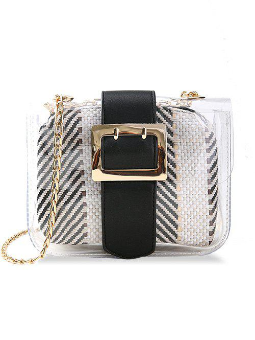 Online Chic Buckled Color Block Crossbody Bag