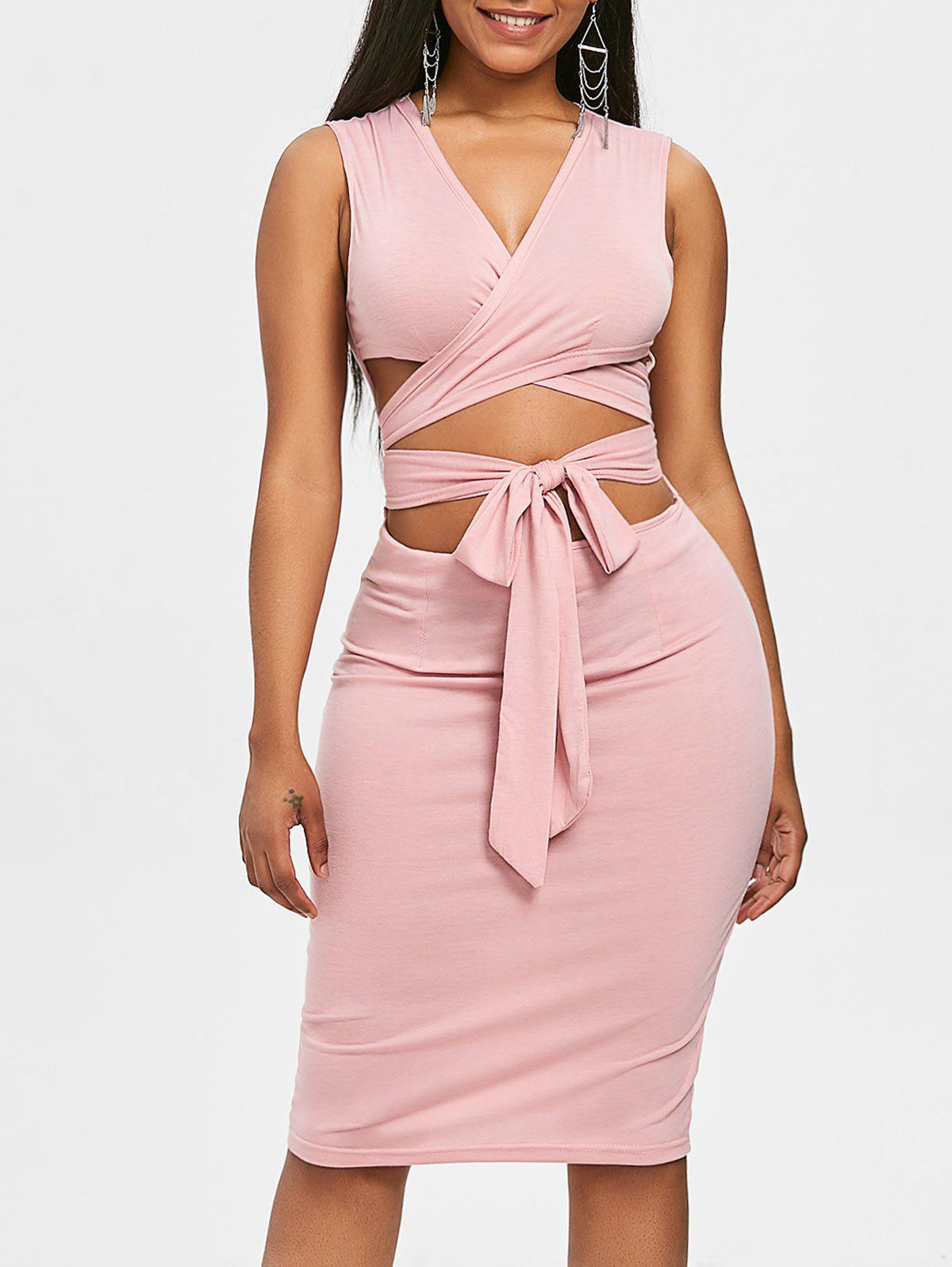 Shop Self Tie Low Cut Bodycon Dress