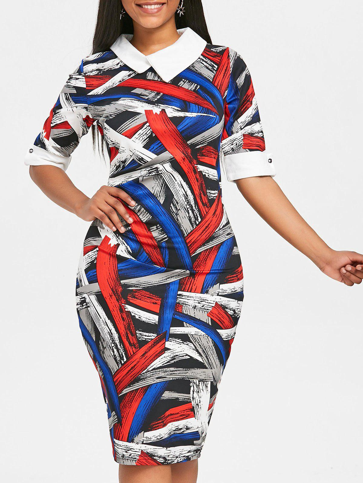 Outfits Painting Color Block Bodycon Dress