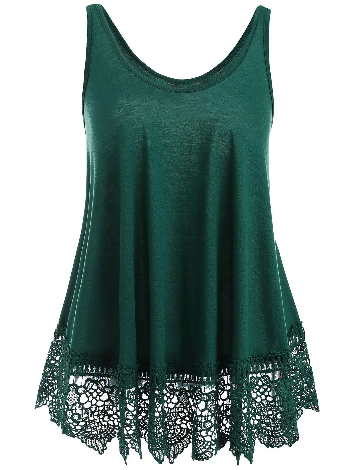 Online Lace Panel U Neck Tank Top