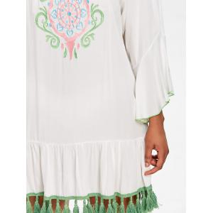 Embroidery Flare Sleeve Tassel Cover Up -