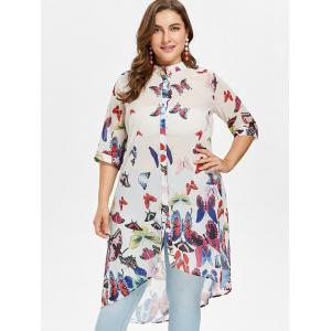 Plus Size Butterfly Long Shirt -