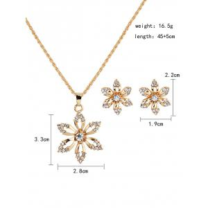Rhinestoned Metal Flower Necklace and Earrings -