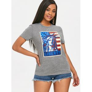 Patriotic Liberty American Flag Print T-shirt -