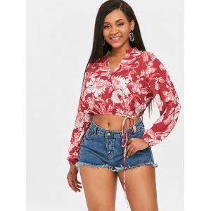 Floral Crop Wrap Blouse -