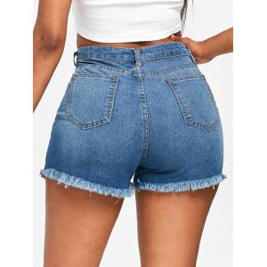 High Waisted Floral Embroidery Jean Shorts -