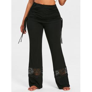 Lace Insert Skirted Wide Leg Pants -