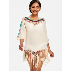 Fringed Beach Crochet Panel Cover Up Dress -