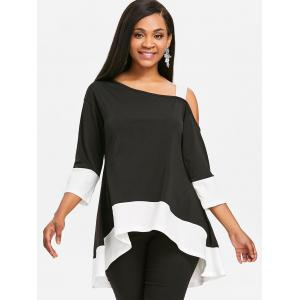 Color Block High Low Tunic T-shirt -