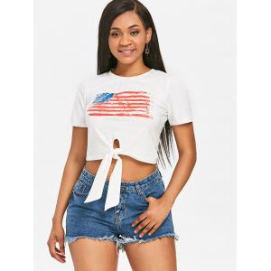 Front Knot American Flag Cropped Tee -