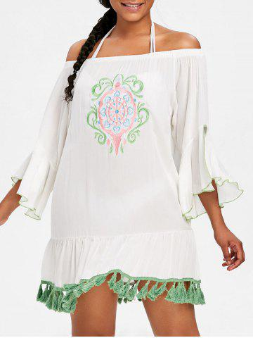 Shops Embroidery Flare Sleeve Tassel Cover Up