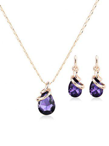 Latest Metal Faux Crystal Teardrop Necklace with Earrings