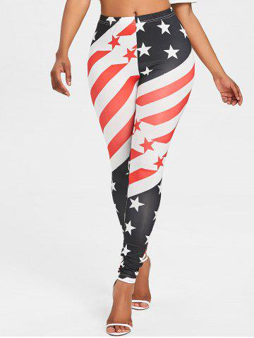 New American Flag Print Elastic Waist Leggings
