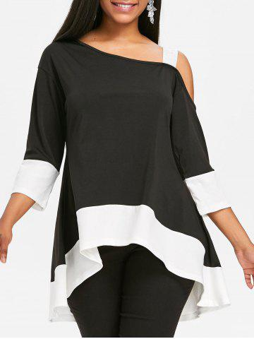 Chic Color Block High Low Tunic T-shirt