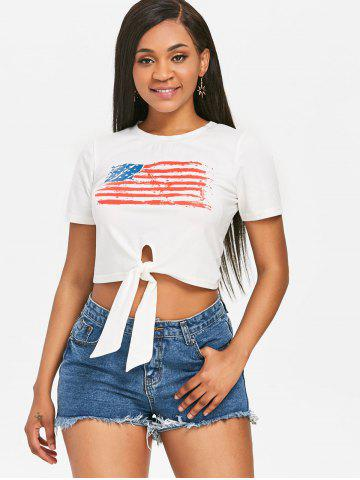 Front Knot American Flag Cropped Tee