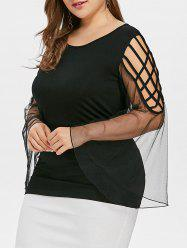 Plus Size Caged Cutout Flare Sleeve Blouse -