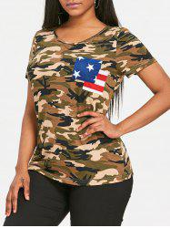 Patriotic Camo American Flag Pocket T-shirt -