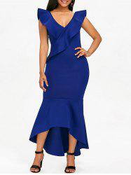 Flounce Insert Asymmetrical Mermaid Dress -