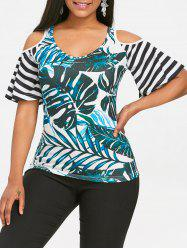 Tropical Leaf Print Cold Shoulder T-shirt -
