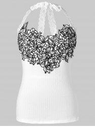 Ribbed Lace Embroidered Sleeveless Halter Top -