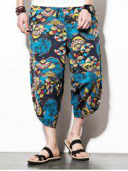 Casual Sector Flower  Print Nine Minutes of Jogger Pants -